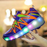 NEW Colorful Zig-Zag Line Casual Wheelies Shoes with Flashing LED for Kids