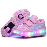 Four Triangle Strips LED Wheelie Sneakers for Kids