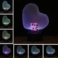 3D Love Heart Night Light with Innovative Romantic Colorful RGB