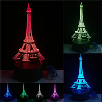 3D Eiffel Tower LED Night Light with RGB Changeable Mood Lamp