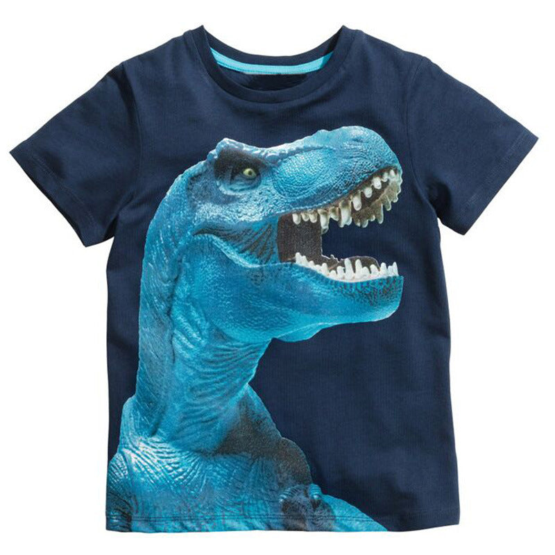 3D Print Blue T-Rex Shirt For Kids