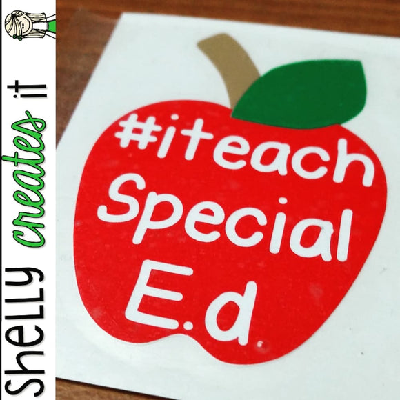 Apple hashtag decal (Red for Ed) Red Apple - Vinyl Sticker
