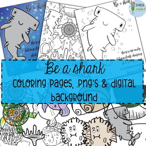Be a shark Ocean elements: PNG Color/B&W - Digital Download