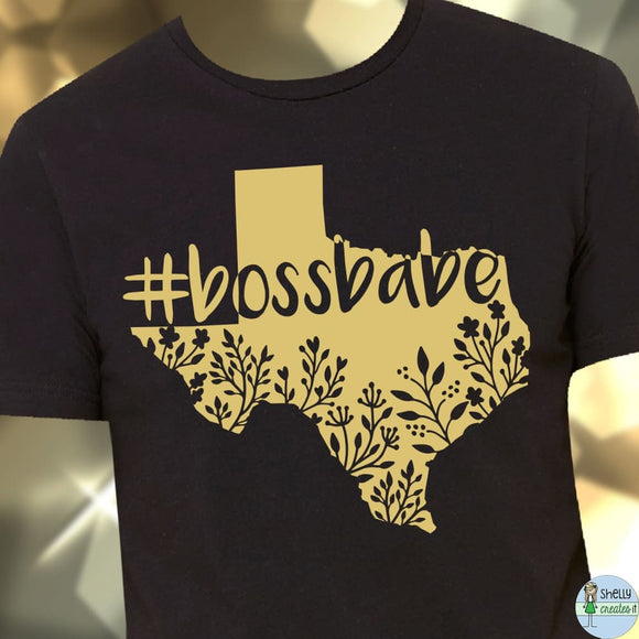 BSB popup #BOSSBABE Texas tee - XL / gold ink on black tee -
