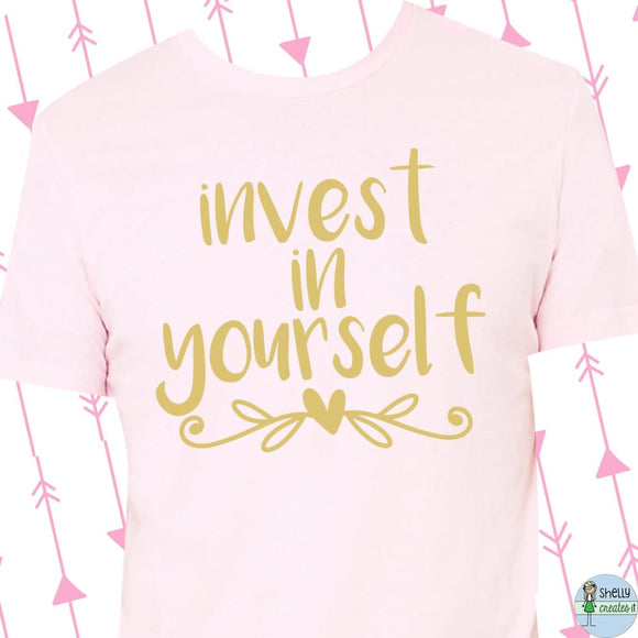 BSB popup Invest in Yourself tee - M / gold on soft pink -