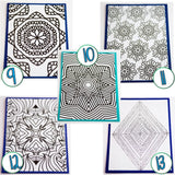 Coloring page cards-Floral - set of 5 cards - Cards