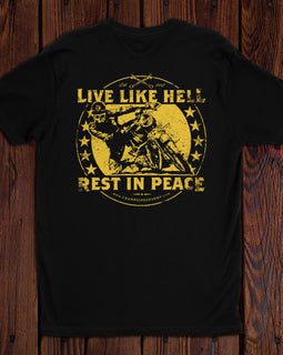 Champ's Speedshop - Live Like Hell, Rest in Peace T-shirt