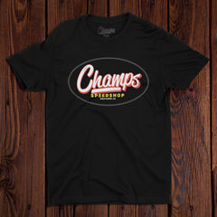 Champ's Speedshop - Land of Misfit Cars T-shirt