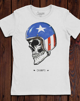 Champ's Skull Helmet Ladies T-Shirt