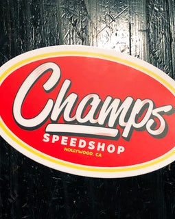 "Champ's Speedshop - Matte Vinyl Sticker 4.8"" x 3"""