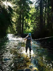 Woman Fly Fishing Angler wading in mountain river