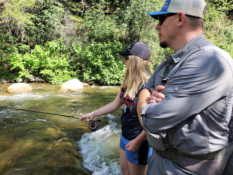 fly fishing with daughter