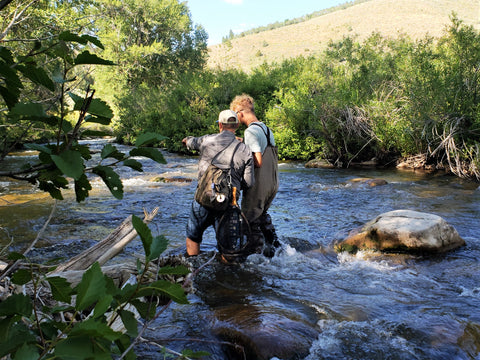 Fly fishing with son
