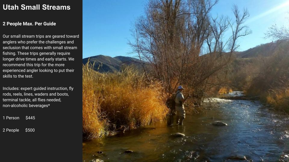 High On The Fly Fishing rates on small Utah rivers for full day