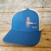 Blue Adams fly fishing snapback hat
