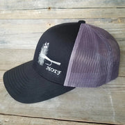 black Adams fly fishing snapback hat