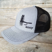 grey Adams fly fishing snapback hat
