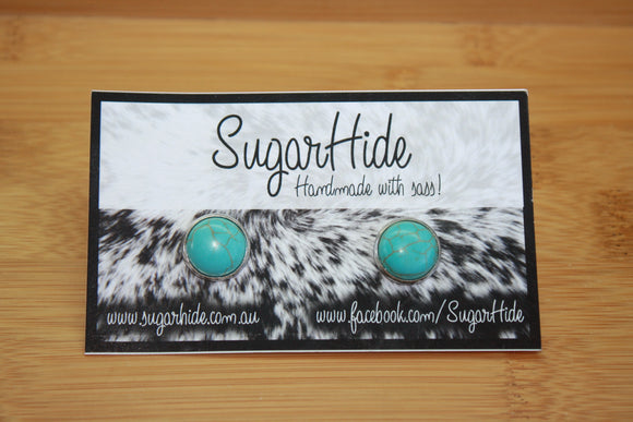 12mm Turquoise Button Earrings