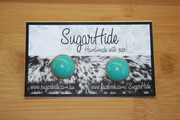 16mm Turquoise Button Earrings