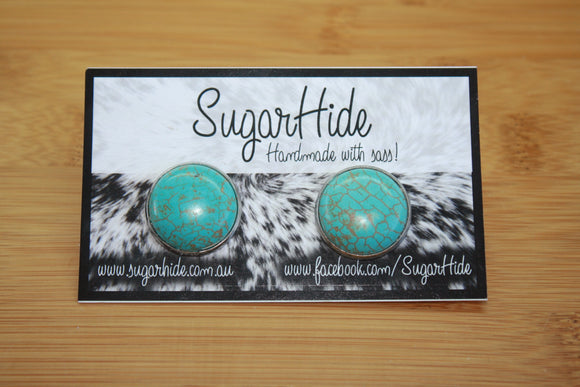 20mm Turquoise Button Earrings