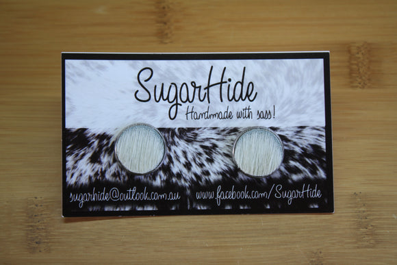 16mm Cowhide Button Earrings
