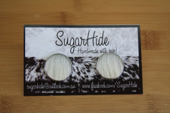 20mm Cowhide Button Earrings