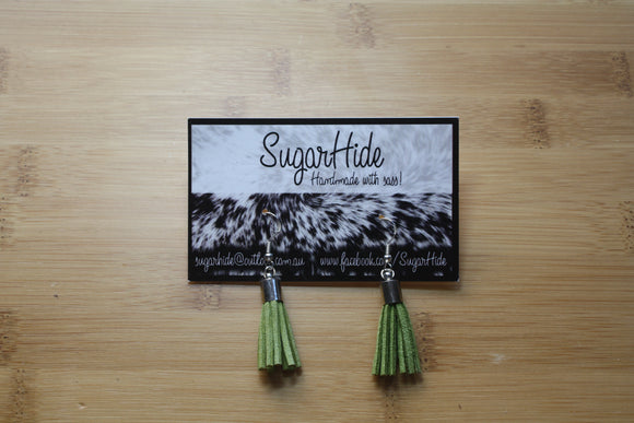 SALE! Khaki Green Drop Tassel Earrings