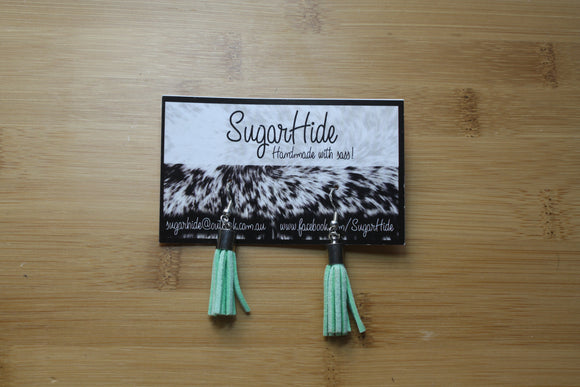 SALE! Light Green Drop Tassel Earrings