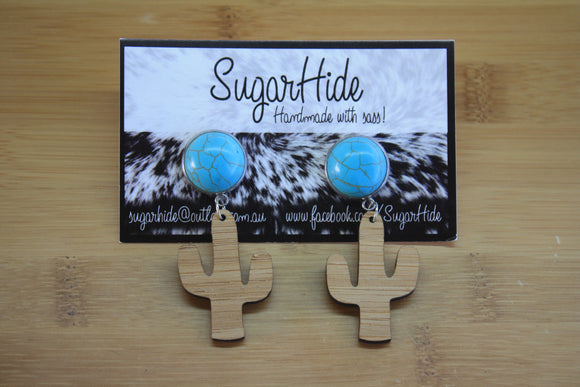 Turquoise Cactus Drop Earrings