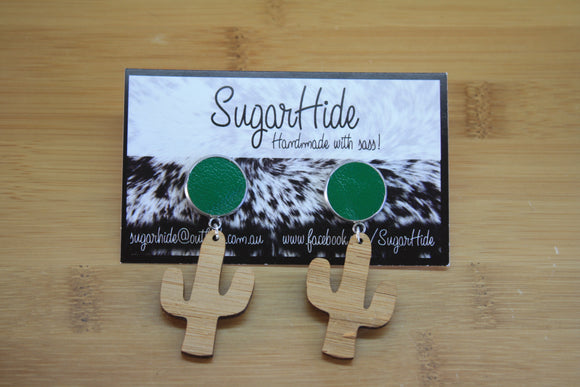 Leather Cactus Drop Earrings