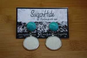 Turquoise Cowhide Duet Earrings