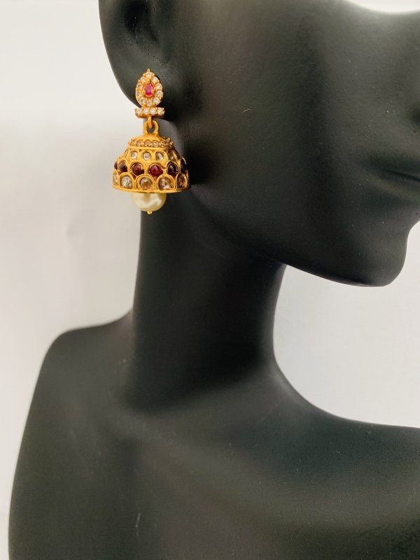 Antique look ruby and cz stones jumka earrings - Globus Fashions