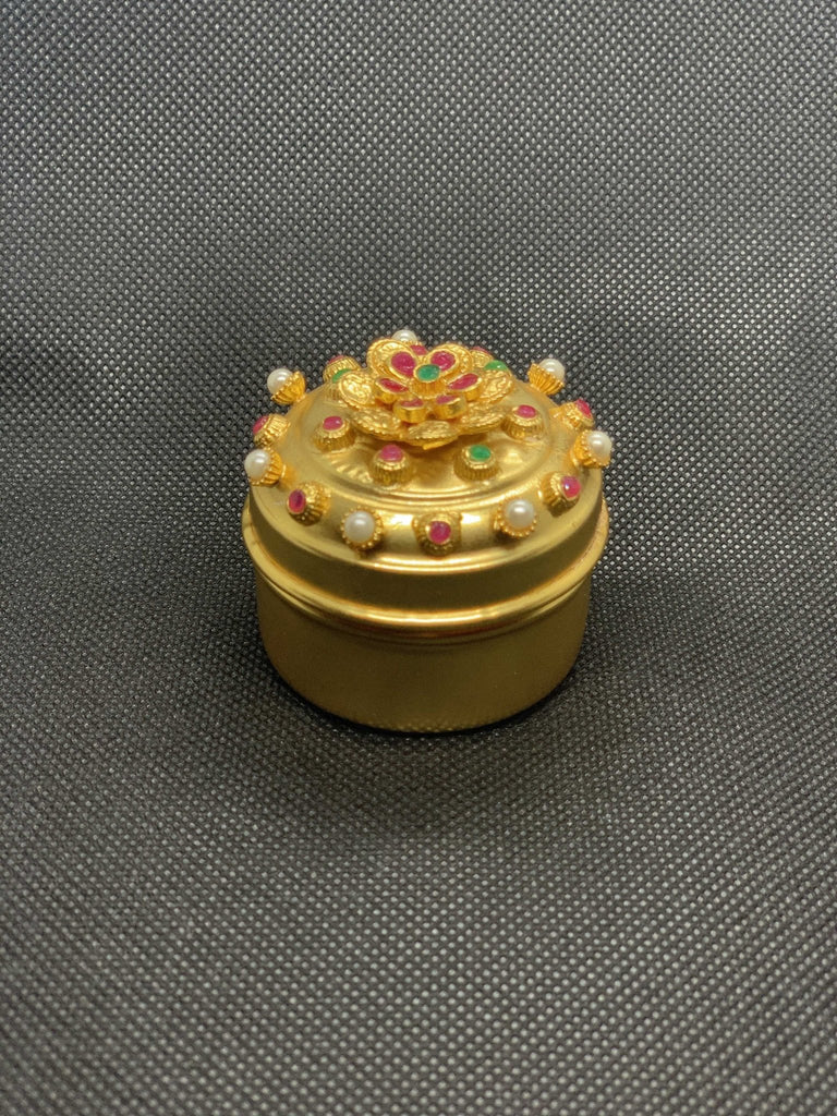 Beautiful multicolor stones with pearls cute kumkum and turmeric box - Globus Fashions