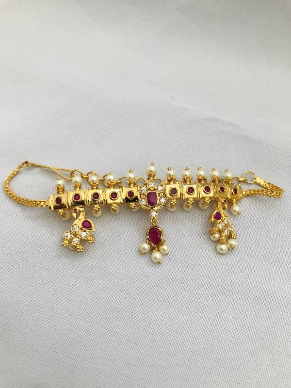 Cute cz stones with ruby and pearls chain type baju band - Globus Fashions