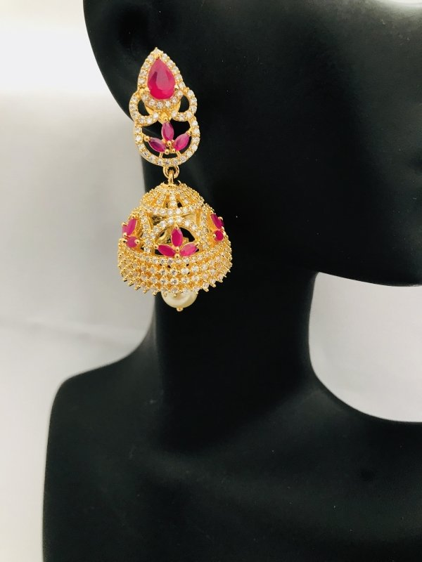 Cz stones and ruby stones with pearls jumka earrings - Globus Fashions