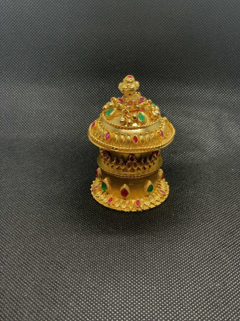 Double stack multicolor stones kumkum and turmeric box - Globus Fashions