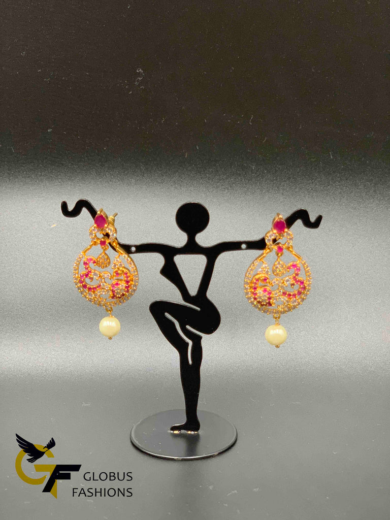 Ruby and cz stones Peacock design chandbali earrings