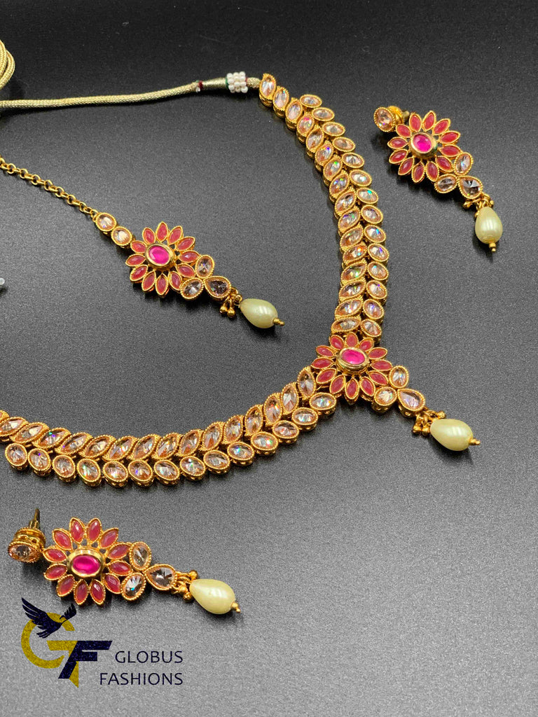 Rose gold polki stones with ruby stones necklace set