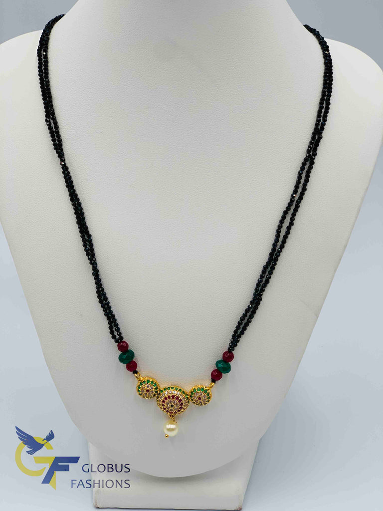 Cute multicolor stones pendant set with black diamond beads chain