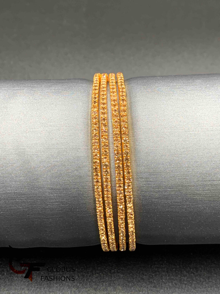 Light brown color stones set of four Bangles