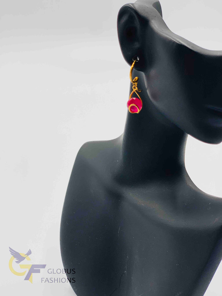 Cute hanging ruby stones pendant and earrings with black beads chain