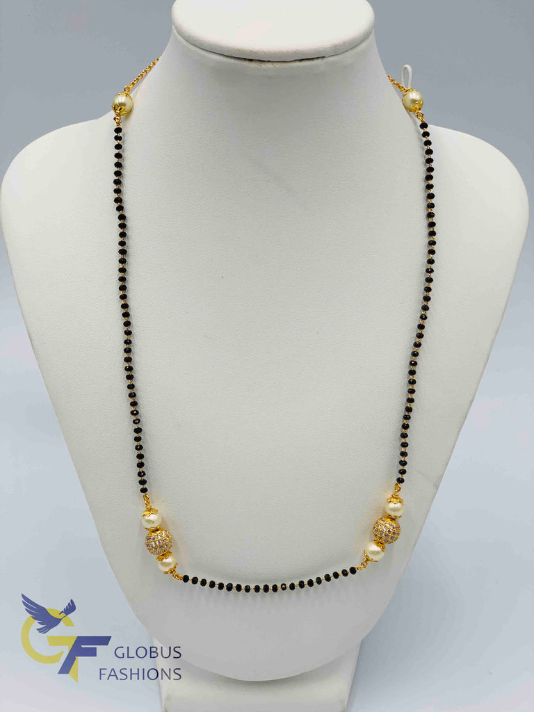 Single line black diamond beads chain with cz stones balls and pearls