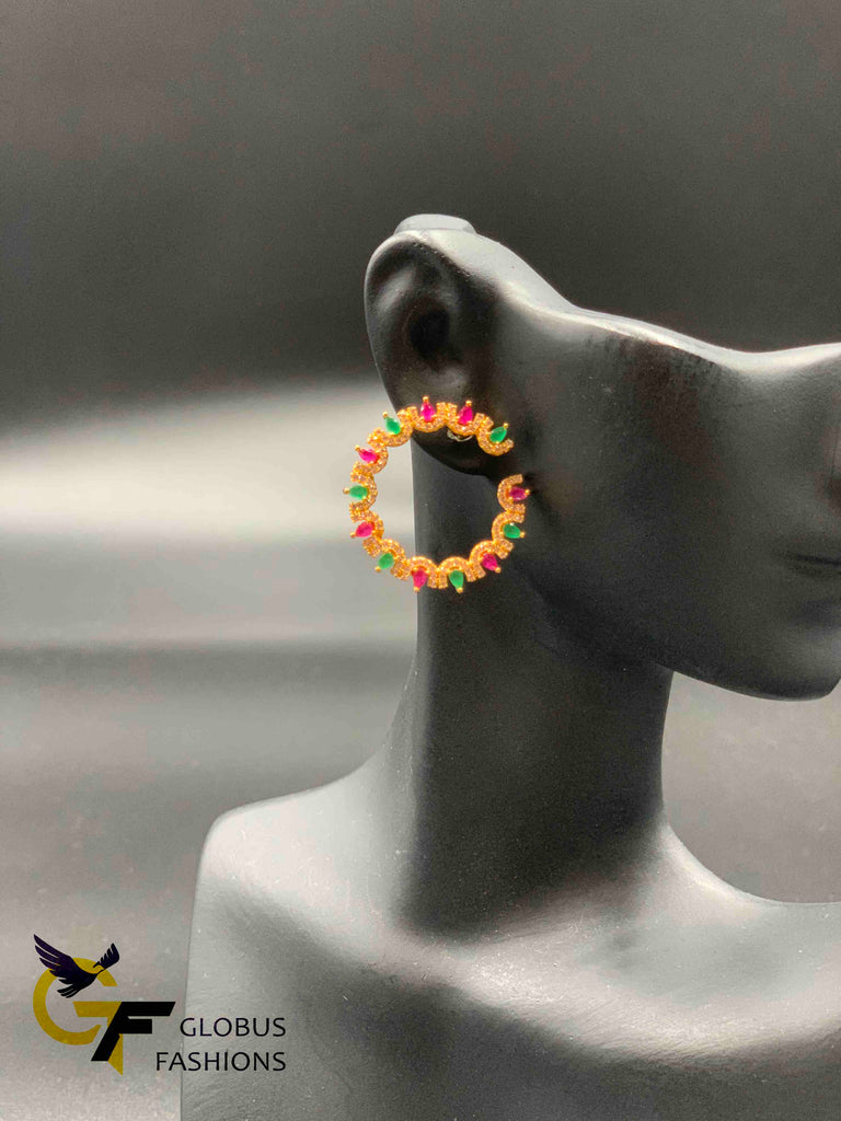Multicolor stones round shape earrings