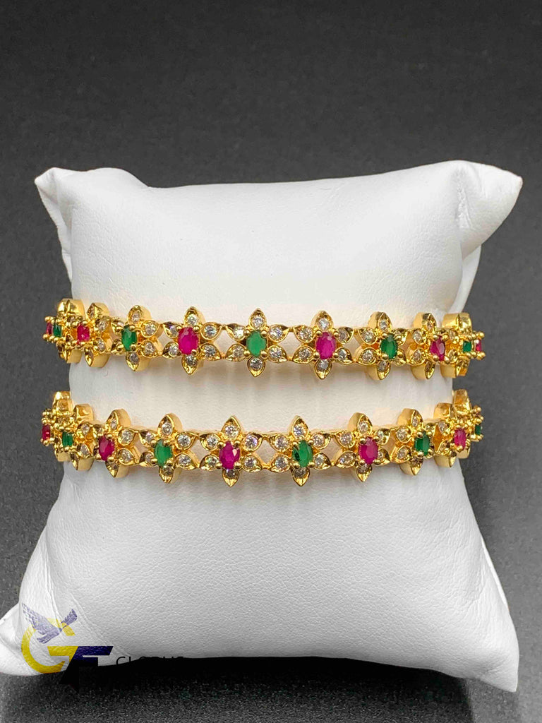 Flower design multicolor stones set of two bangles
