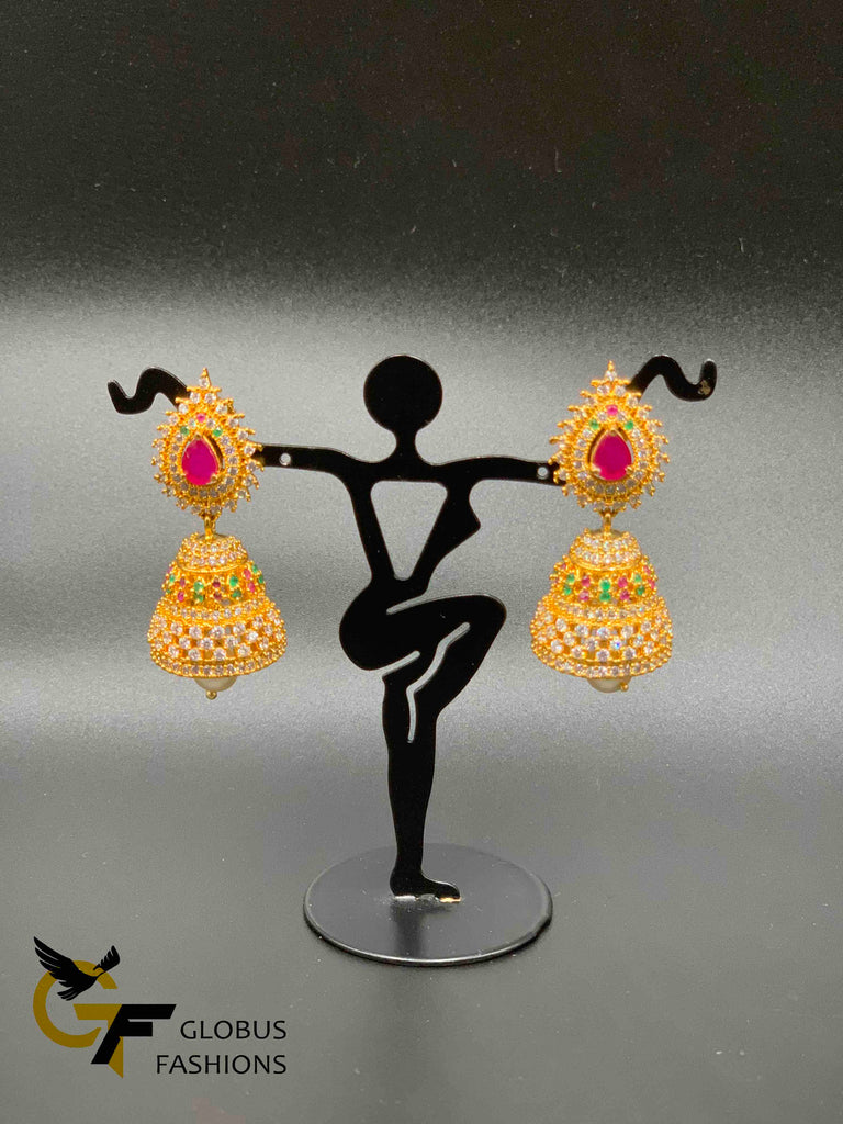Traditional look multicolor stones and ruby with cz stones jumka earrings