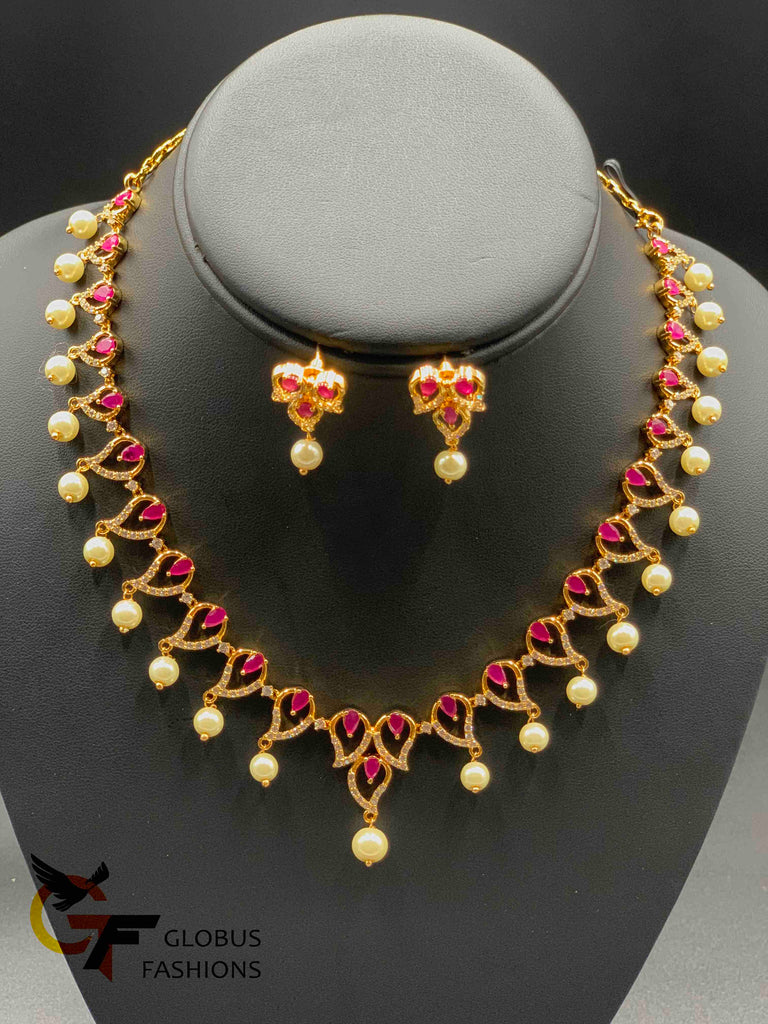 Simple design ruby and cz stones with pearls necklace set