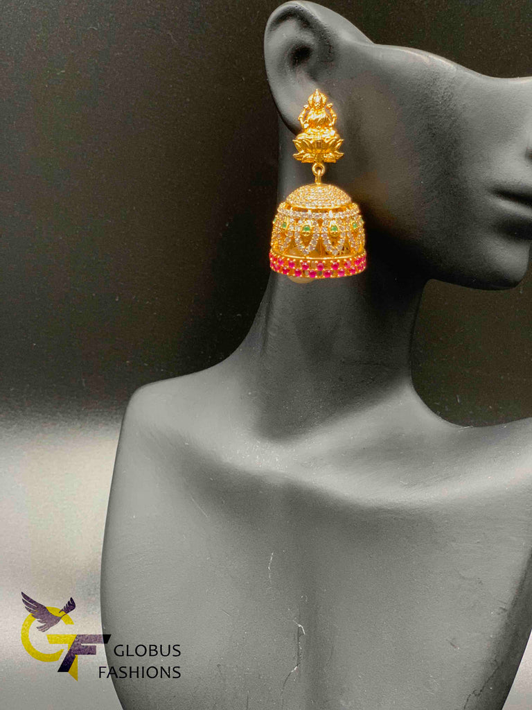 Traditional look Lakshmi print with multicolor stones jumka earrings