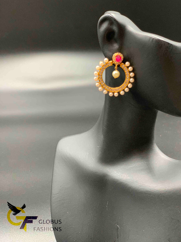Cz stones with pearls chandbali earrings