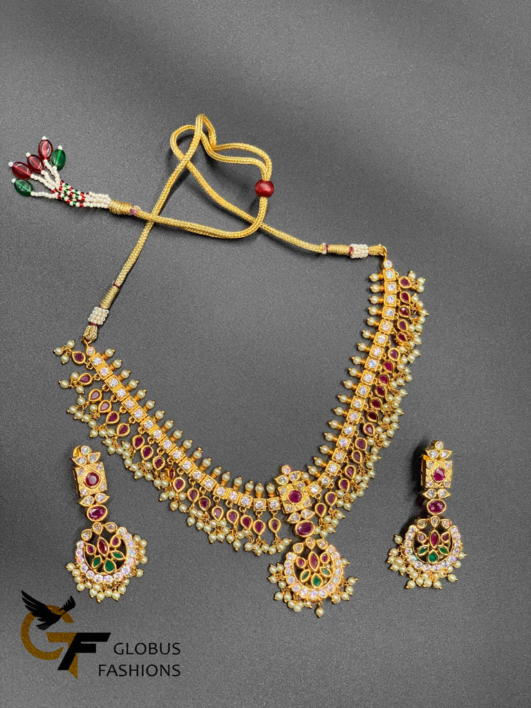 Traditional look multicolor stones with pearls necklace set