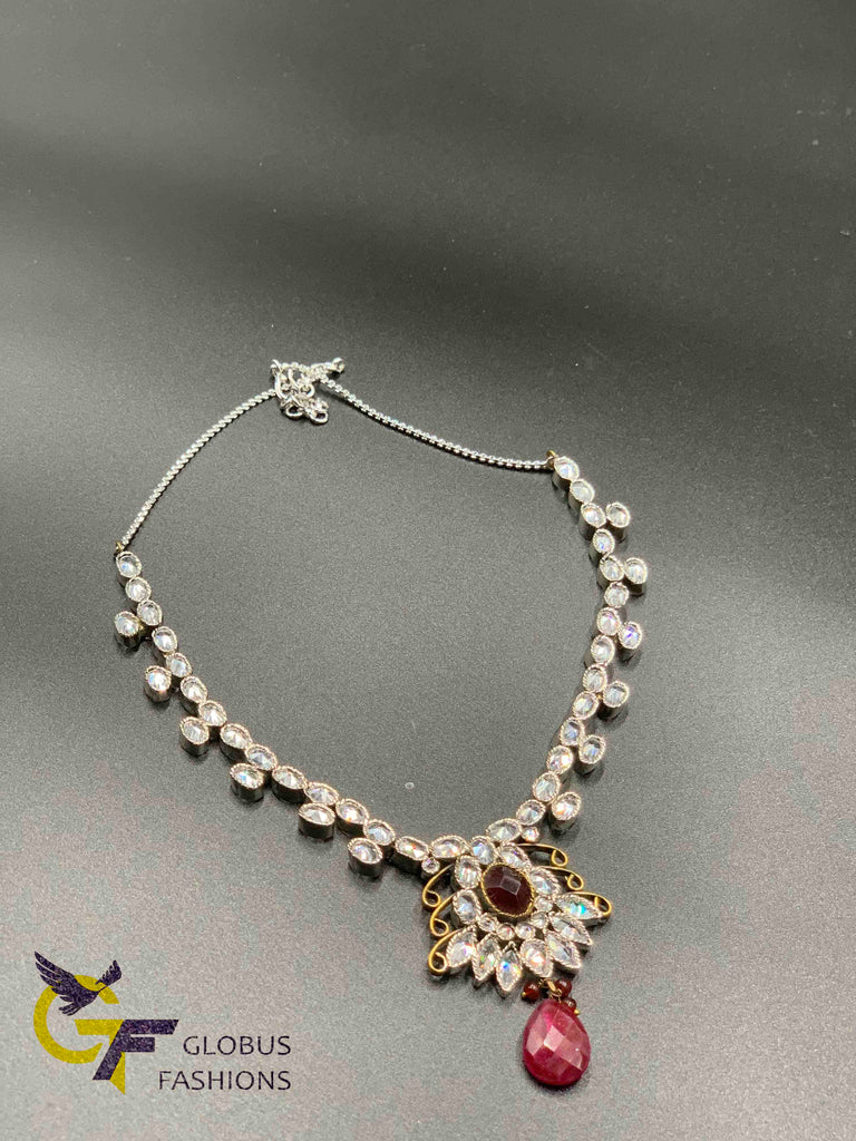 Cz stones with ruby stone simple necklace